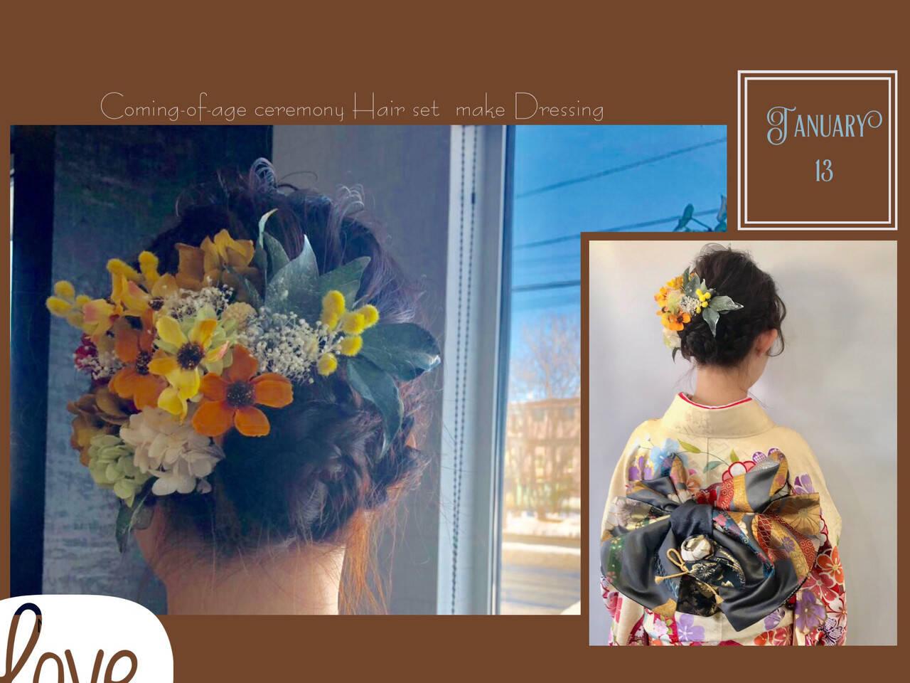 成人式ヘアメイク着付け ヘアアレンジ 成人式ヘア ミディアムヘアスタイルや髪型の写真・画像