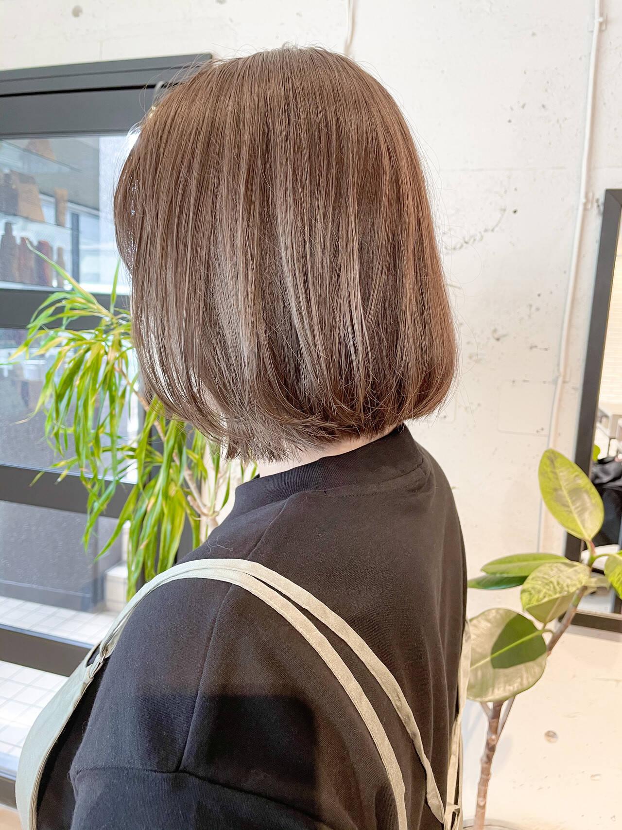 ナチュラル 透明感カラー 切りっぱなしボブ 韓国ヘアヘアスタイルや髪型の写真・画像