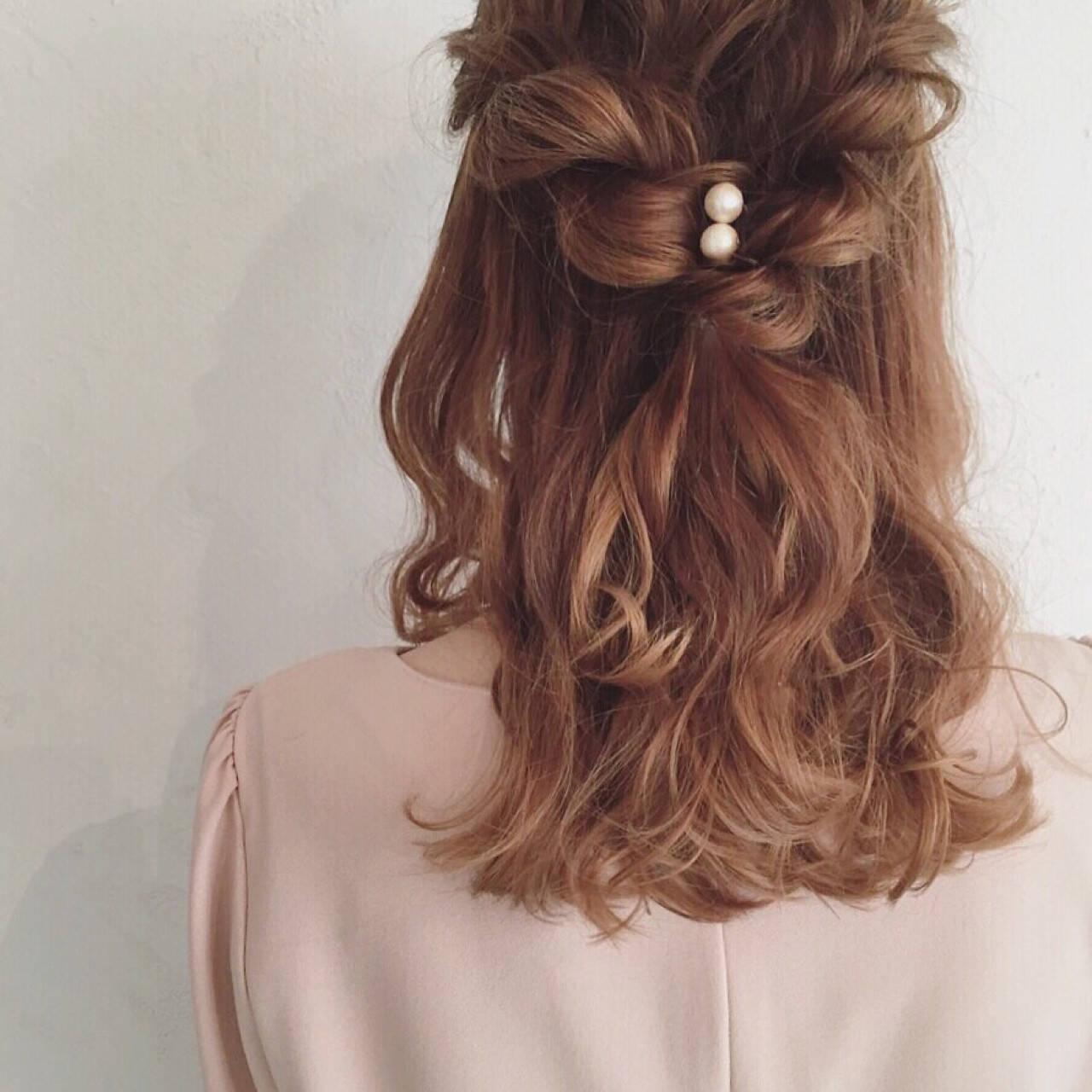 ヘアアレンジ ミディアム ハーフアップ イルミナカラーヘアスタイルや髪型の写真・画像