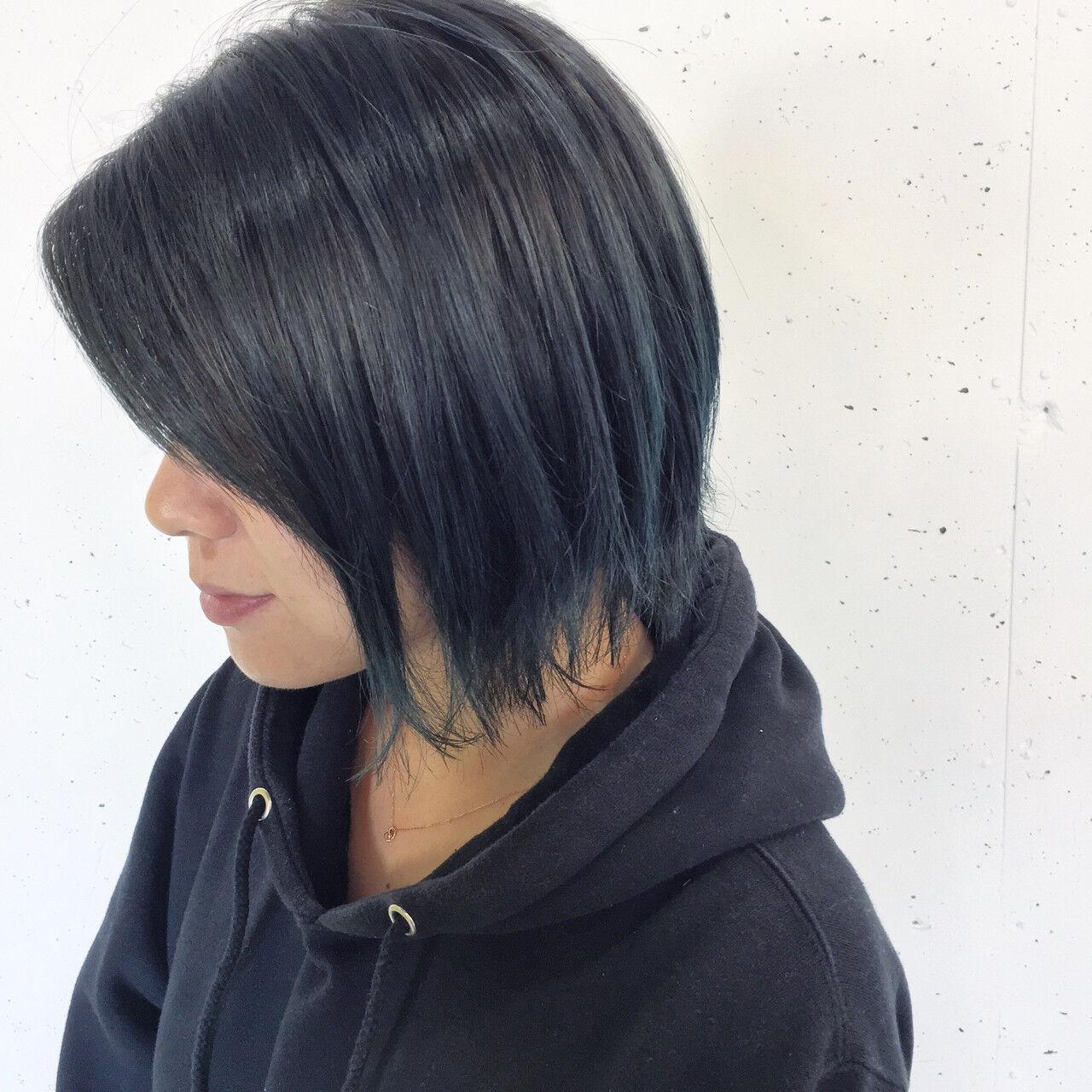 外ハネ ボブ グラデーションカラー ショートヘアスタイルや髪型の写真・画像
