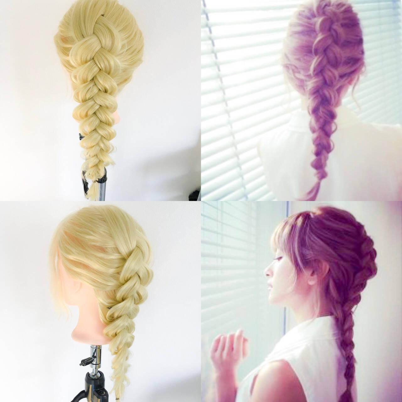 裏編み込み ロング デート 編み込みヘアスタイルや髪型の写真・画像