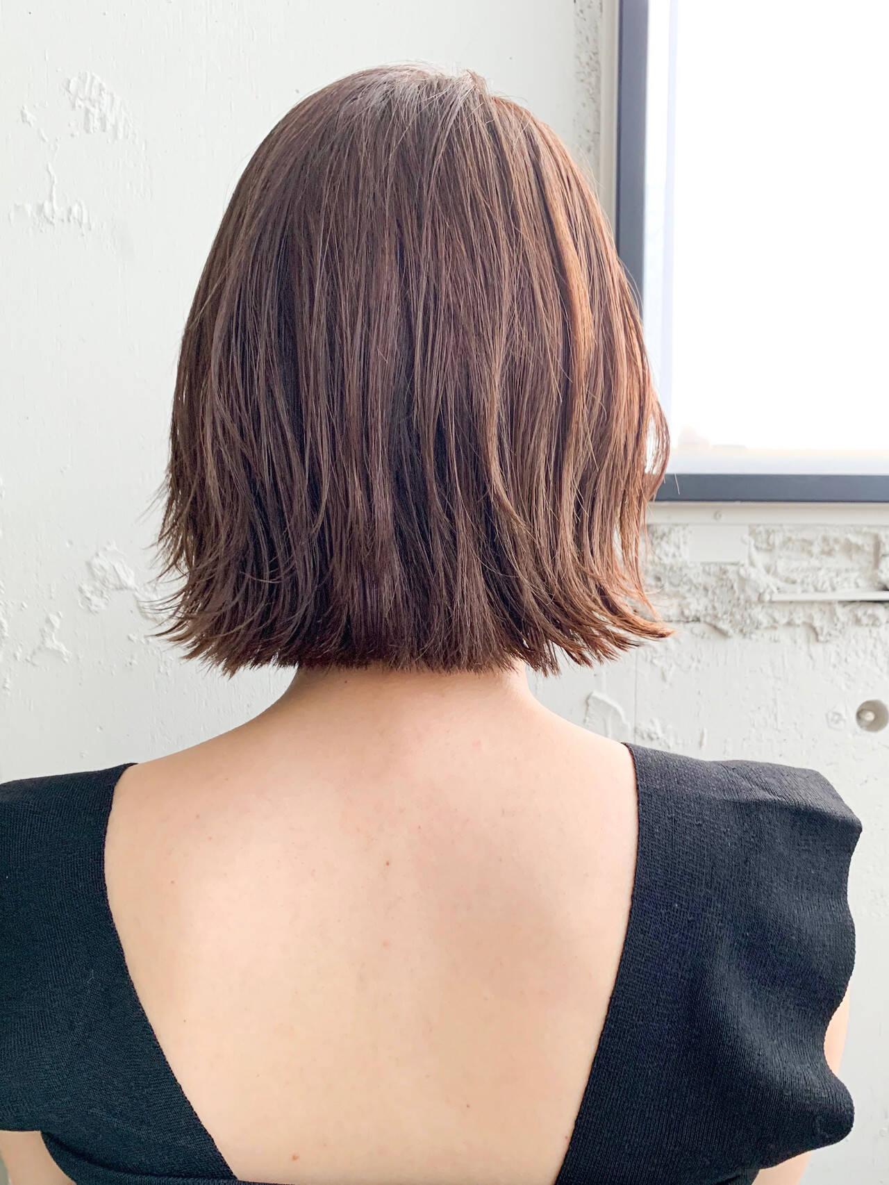 こなれ感 ボブ 切りっぱなしボブ 前髪ありヘアスタイルや髪型の写真・画像