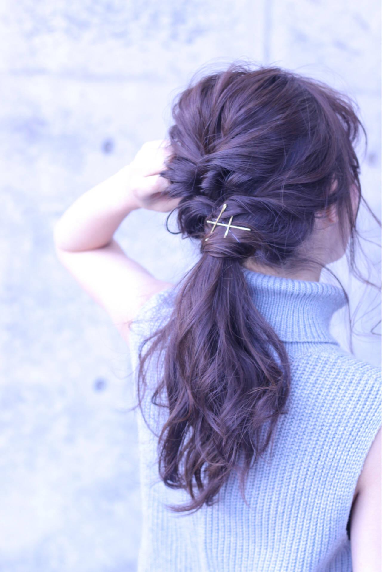 ナチュラル ショート ポニーテール くるりんぱヘアスタイルや髪型の写真・画像