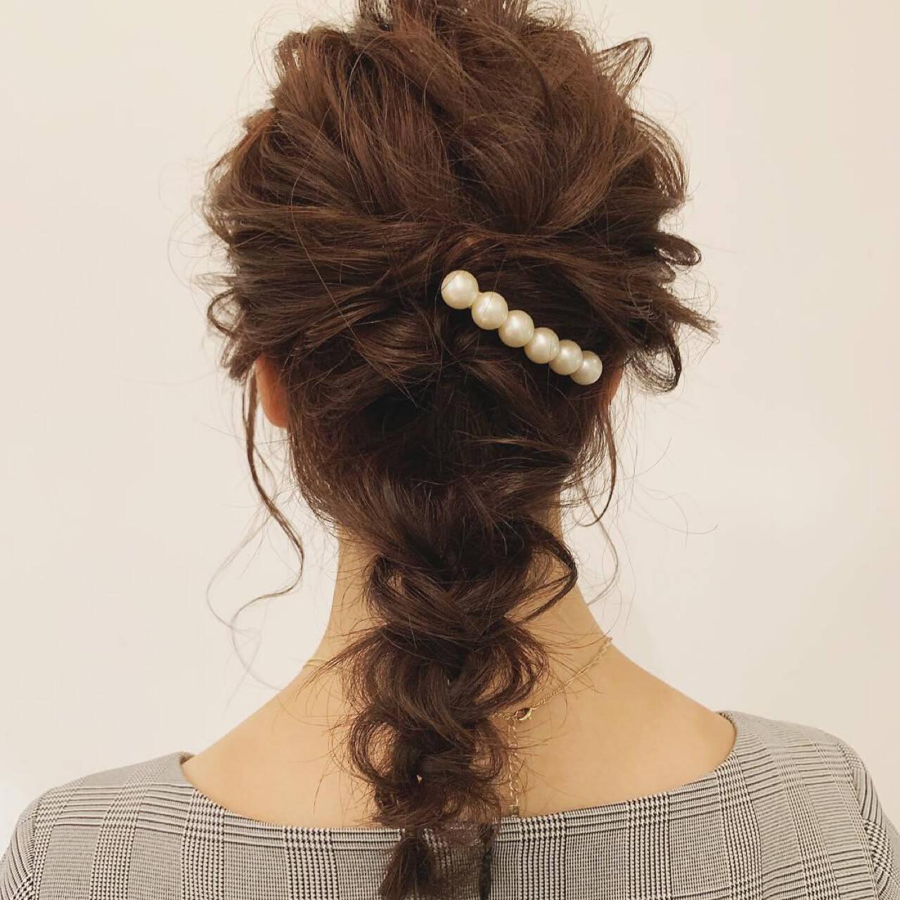 編み込み セミロング ロング ヘアアレンジヘアスタイルや髪型の写真・画像