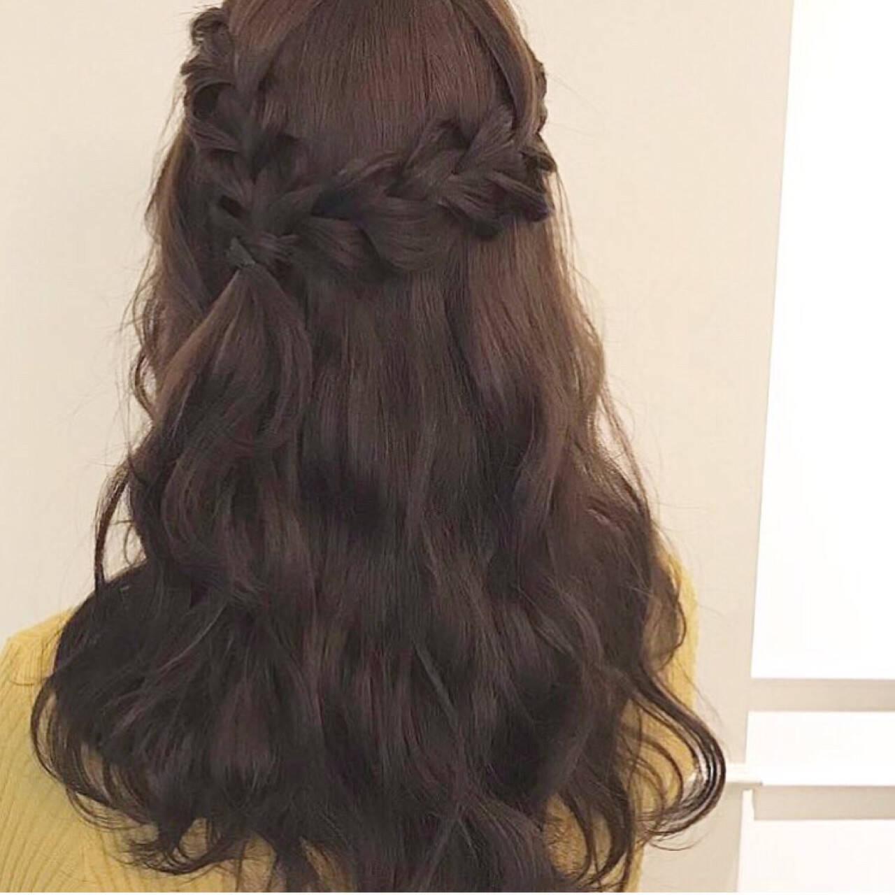 ヘアアレンジ フェミニン 三つ編み ハーフアップヘアスタイルや髪型の写真・画像