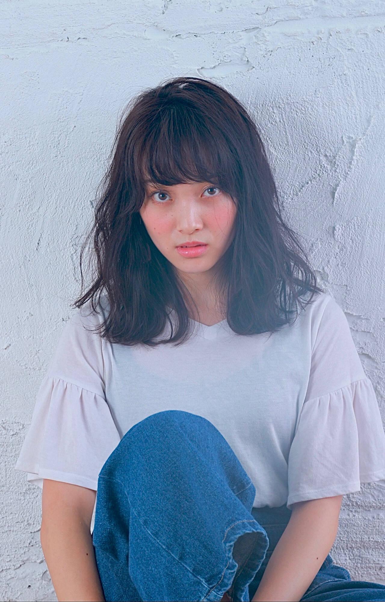 セミロング サロンモデル 大人かわいい かわいいヘアスタイルや髪型の写真・画像
