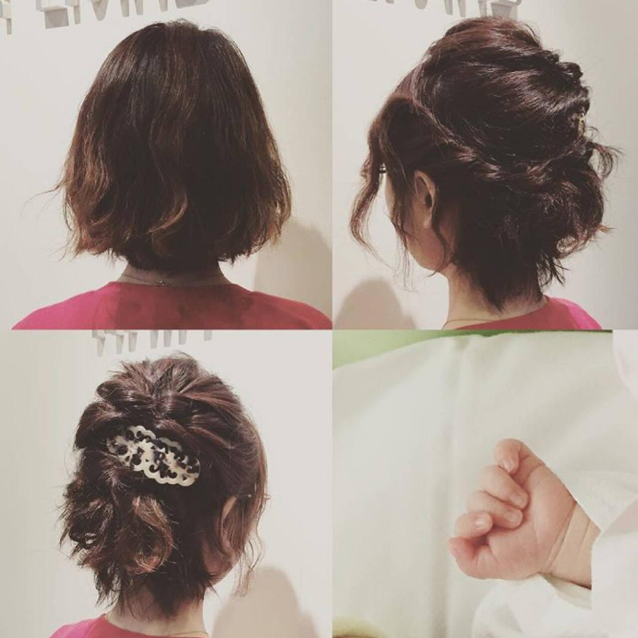 簡単ヘアアレンジ 結婚式 ショート パーティヘアスタイルや髪型の写真・画像