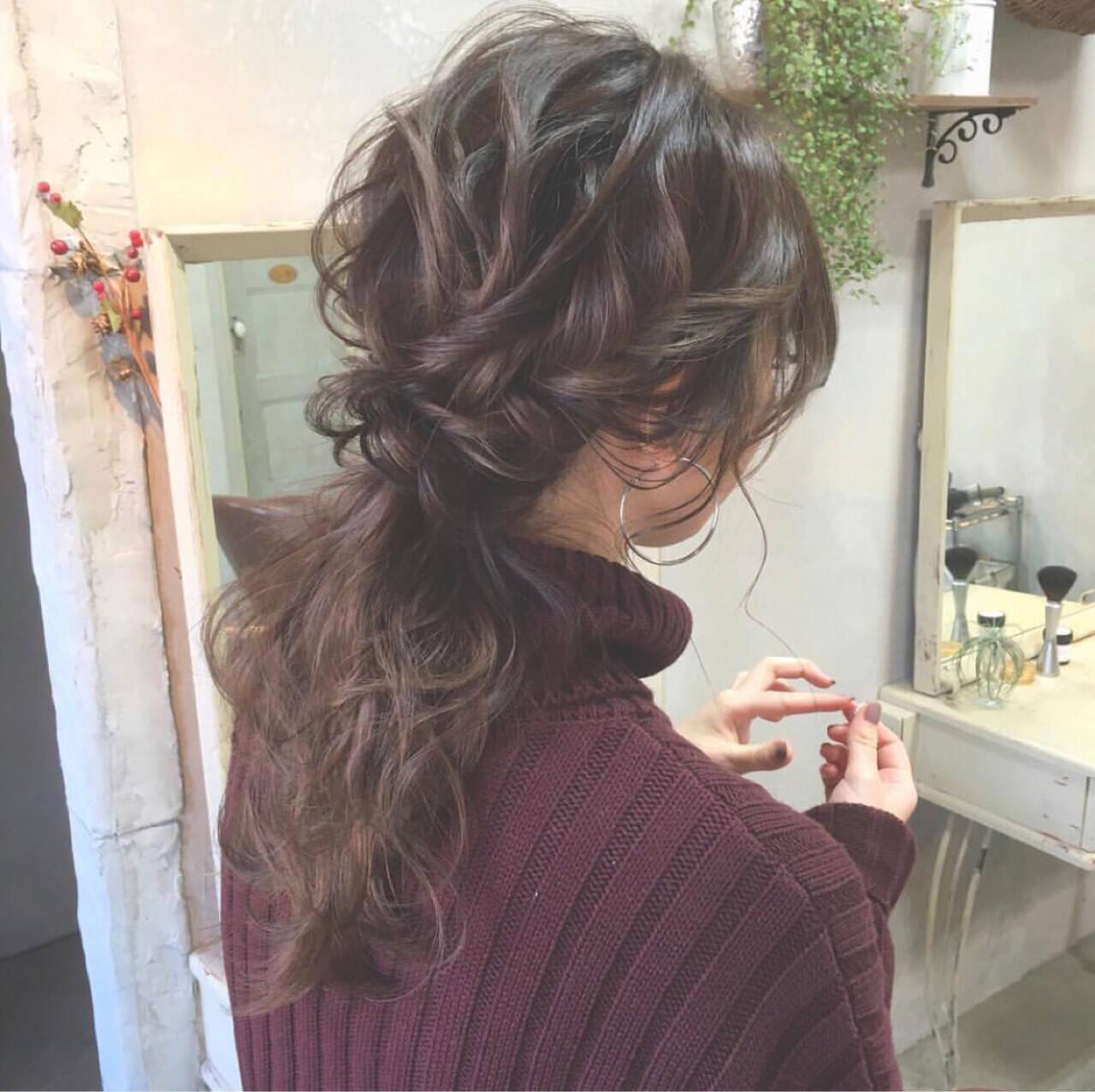 ヘアアレンジ ロング ローポニーテール 大人かわいいヘアスタイルや髪型の写真・画像