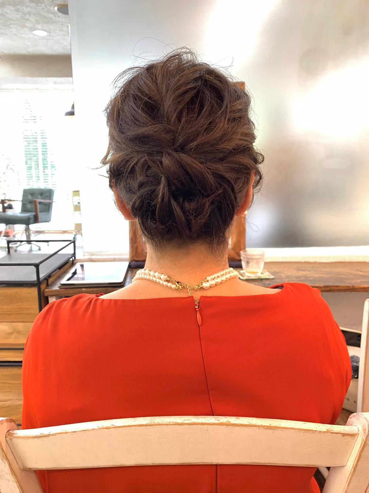 結婚式 フェミニン ボブ シニヨンヘアスタイルや髪型の写真・画像
