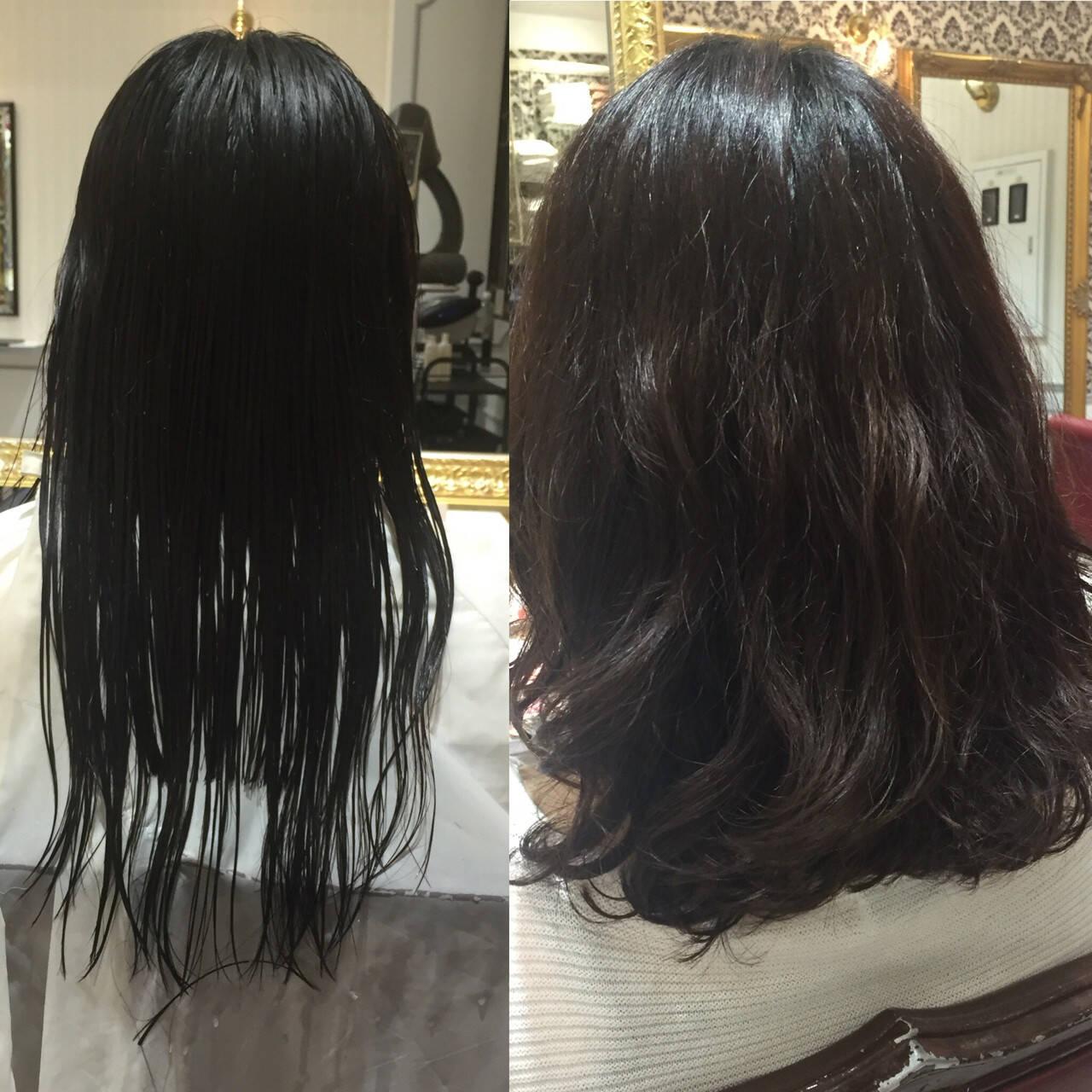 ピュア パーマ ワイドバング コンサバヘアスタイルや髪型の写真・画像
