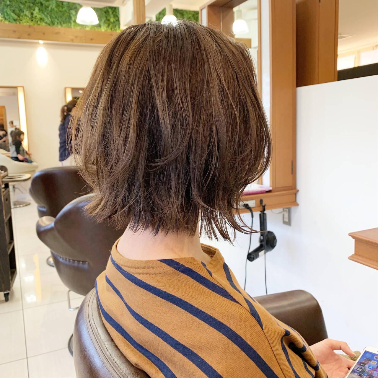 大人可愛い  切りっぱなしボブ ふんわりヘアスタイルや髪型の写真・画像