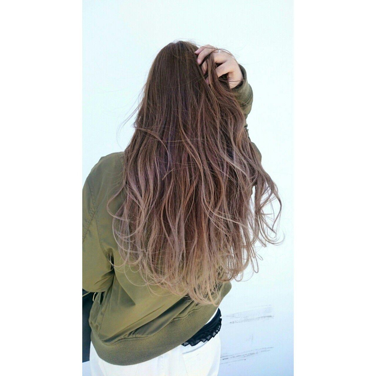 ストリート ハイライト ロング ゆるふわヘアスタイルや髪型の写真・画像