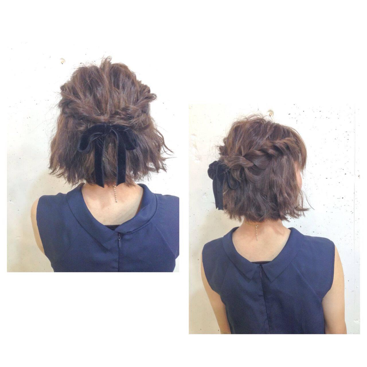 簡単ヘアアレンジ ショート ウェーブ ストリートヘアスタイルや髪型の写真・画像