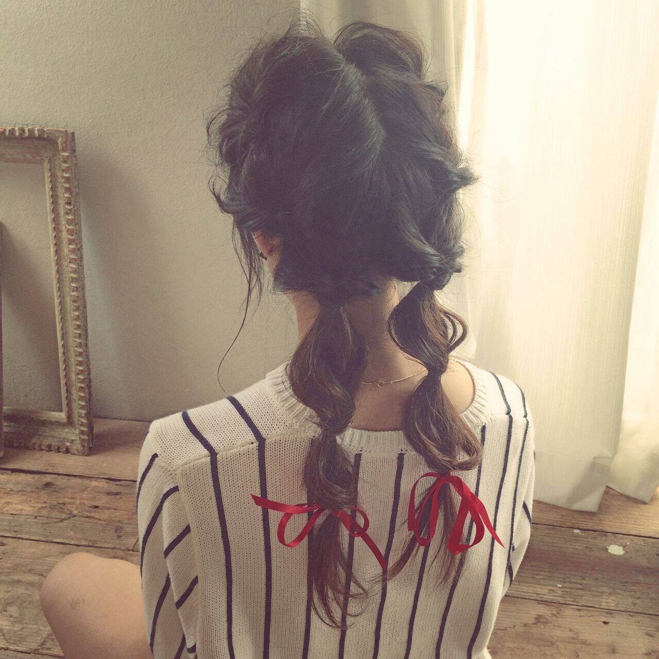 丸顔 卵型 マルサラ ヘアアレンジヘアスタイルや髪型の写真・画像