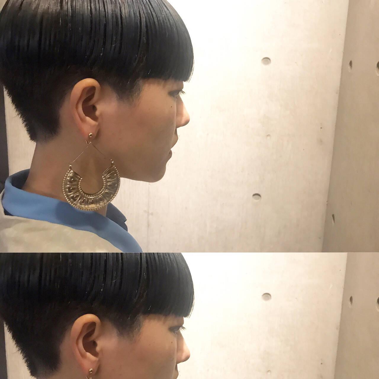 ハイライト アッシュ モード ショートヘアスタイルや髪型の写真・画像