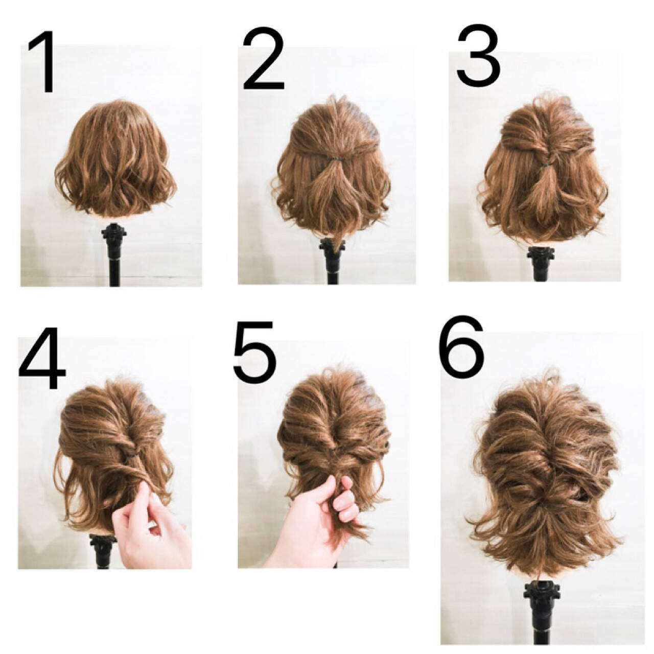 大人かわいい 簡単ヘアアレンジ ショート ボブヘアスタイルや髪型の写真・画像