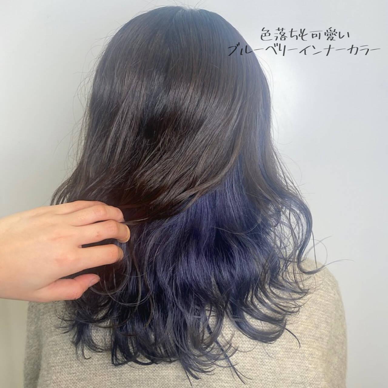 ダブルカラー ブリーチ必須 派手髪 ブルーラベンダーヘアスタイルや髪型の写真・画像