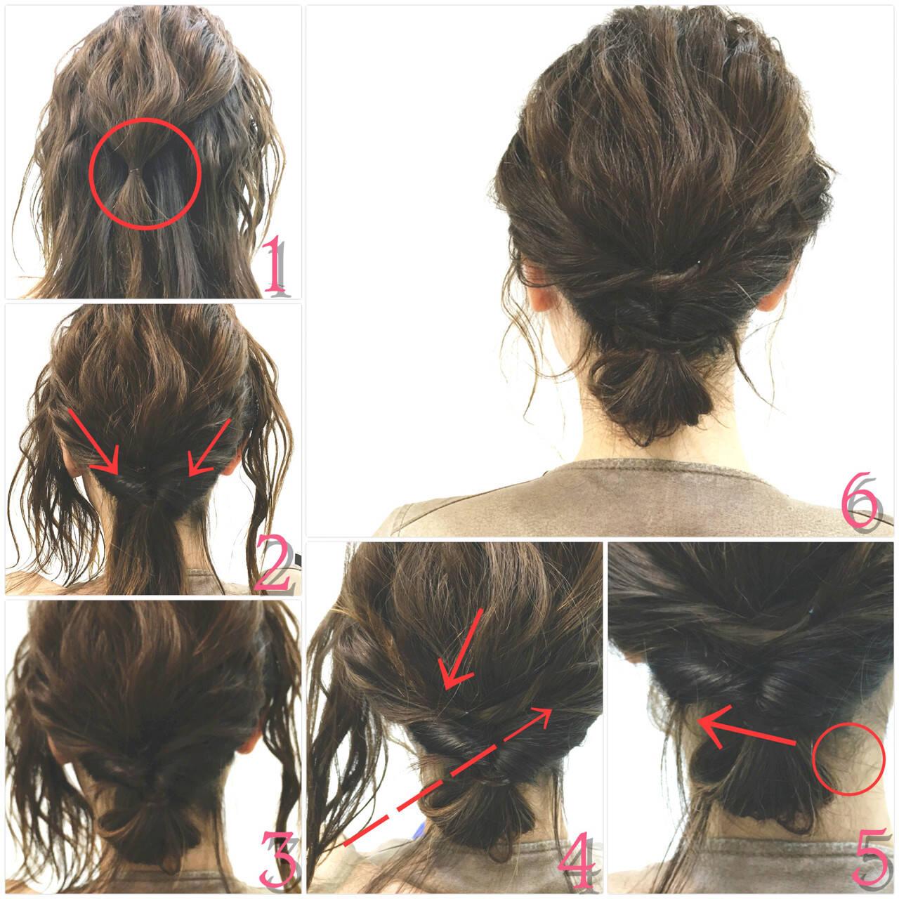 ショート ボブ 簡単ヘアアレンジ くるりんぱヘアスタイルや髪型の写真・画像