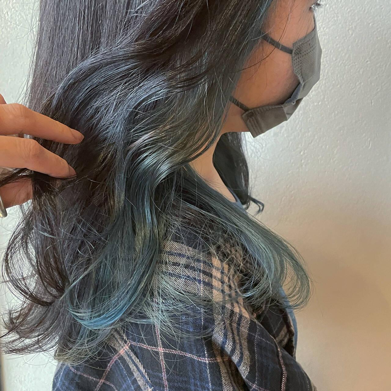 ブルージュ ストリート インナーブルー ブルーヘアスタイルや髪型の写真・画像