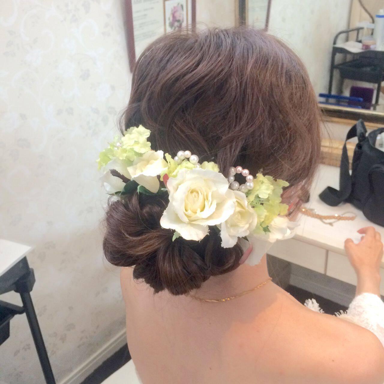 ブライダル ヘアアレンジ ロング アップスタイルヘアスタイルや髪型の写真・画像