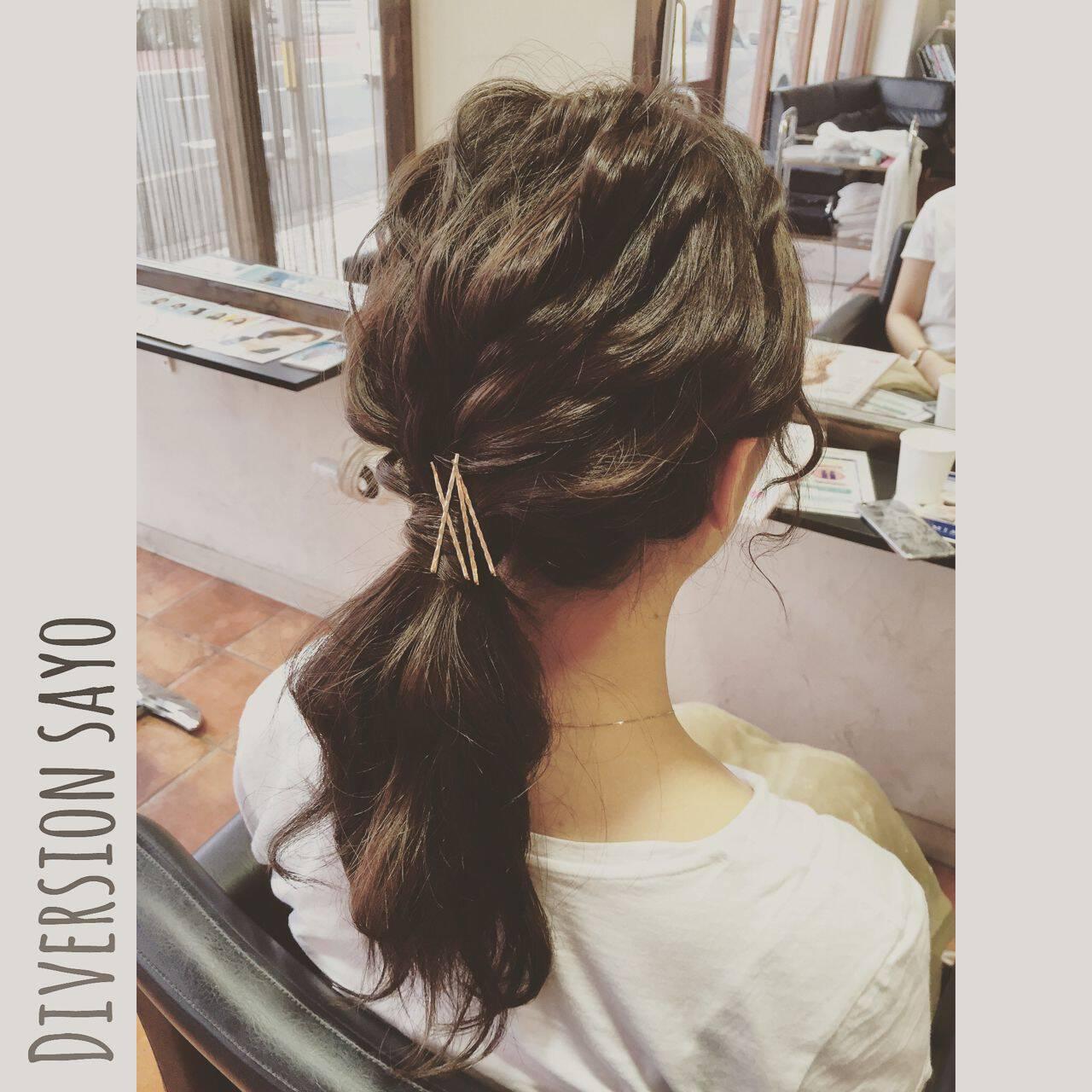 ヘアピン ローポニーテール ラフ ヘアアレンジヘアスタイルや髪型の写真・画像