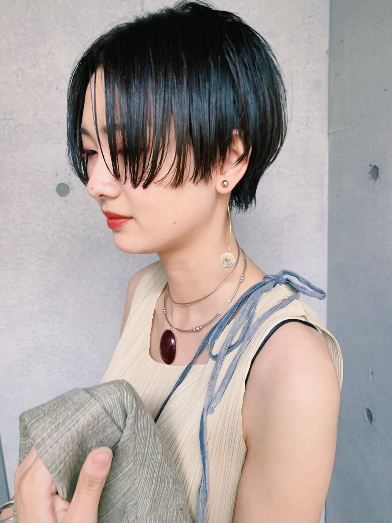 ベリーショート ショート ショートヘア 黒髪ショートヘアスタイルや髪型の写真・画像