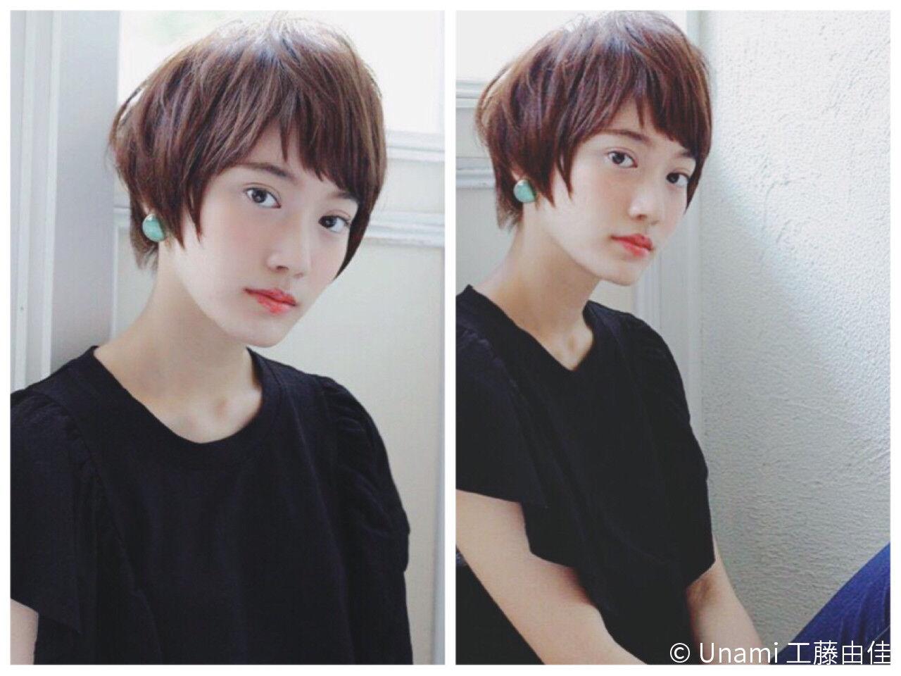 小顔 似合わせ ショート ショートボブヘアスタイルや髪型の写真・画像