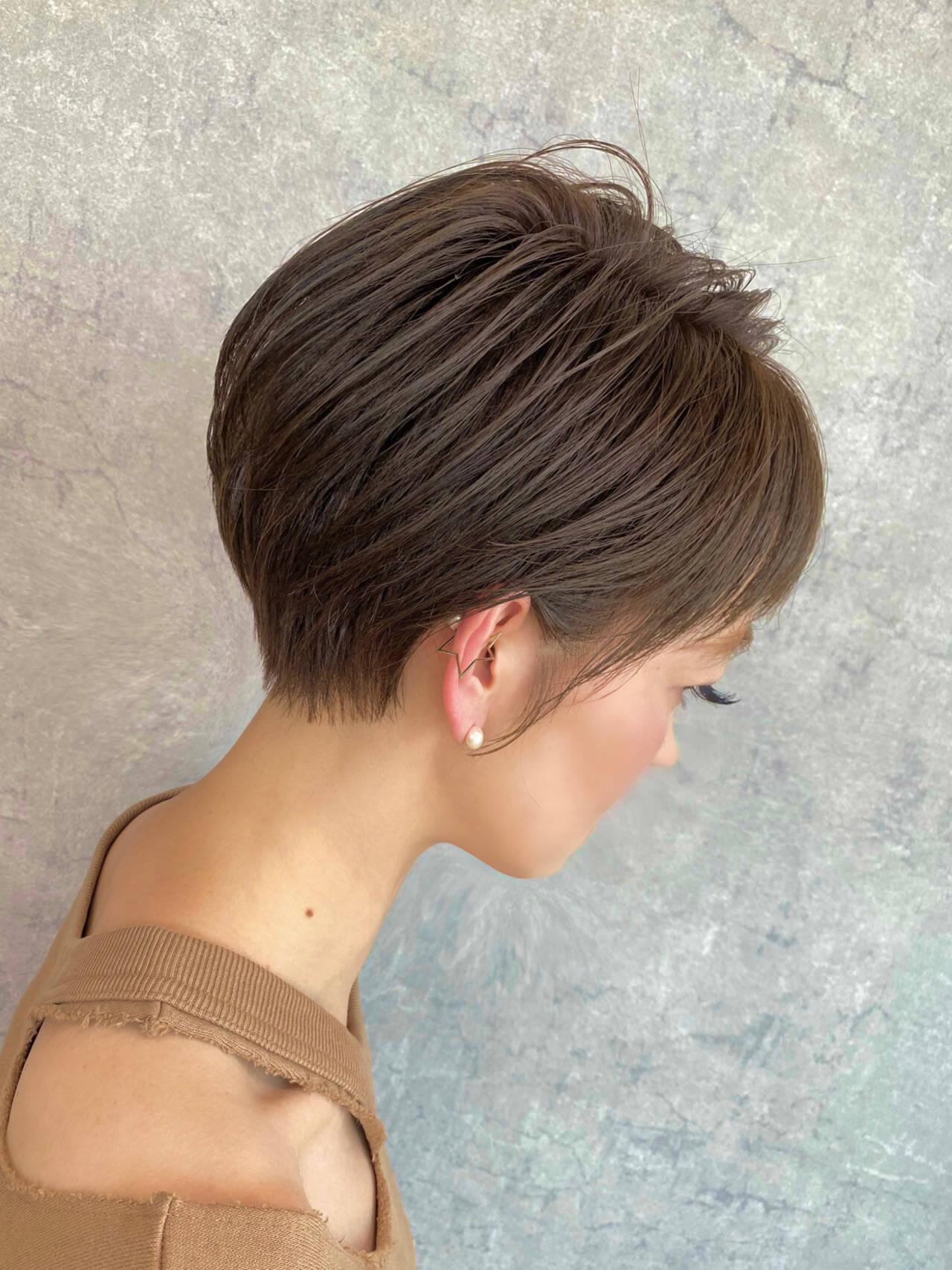ミニボブ ショートボブ 小顔ショート ナチュラルヘアスタイルや髪型の写真・画像
