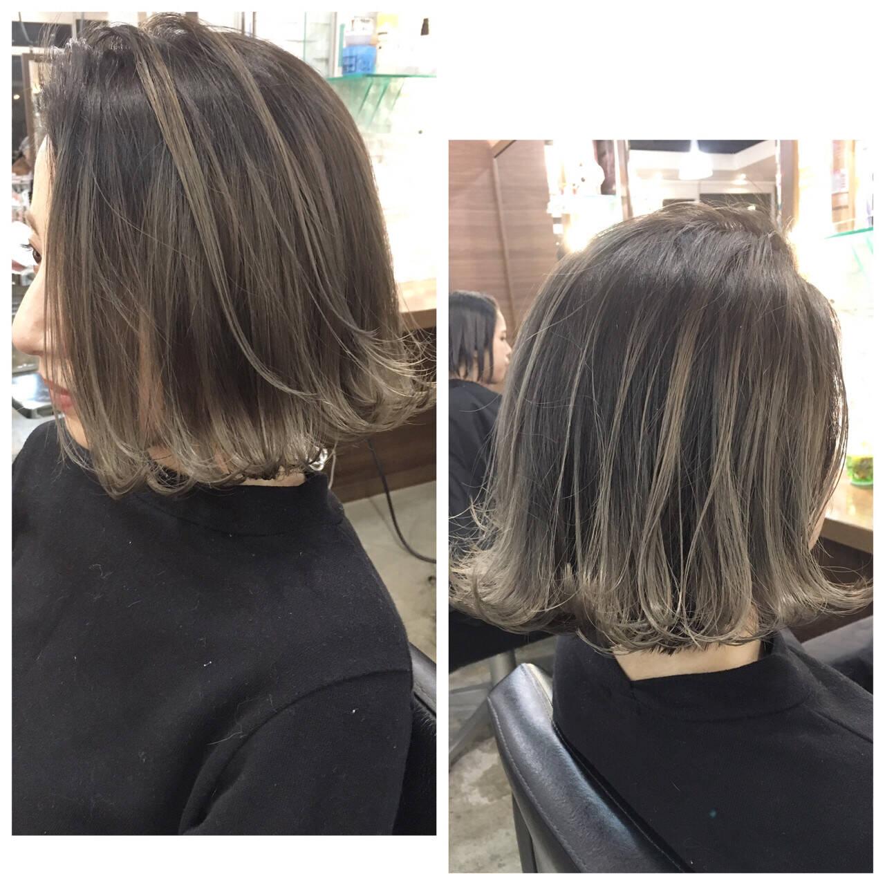 グラデーションカラー ストリート ボブ アッシュヘアスタイルや髪型の写真・画像
