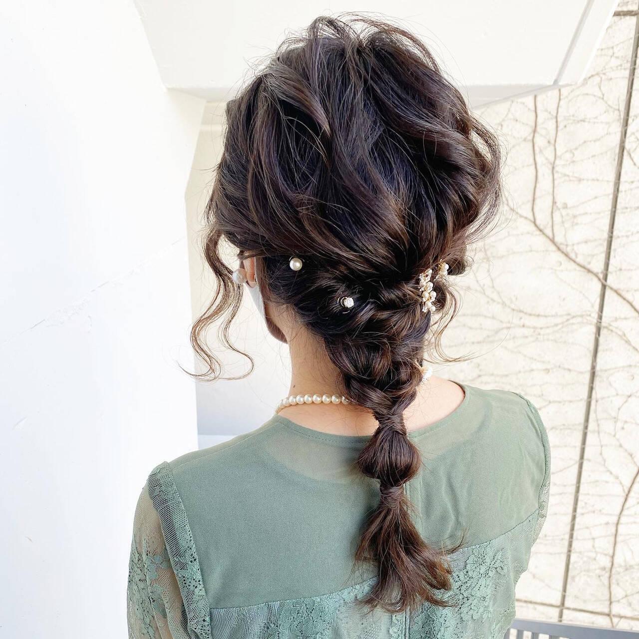 フェミニン ゆるふわ ヘアアレンジ 編み込みヘアスタイルや髪型の写真・画像