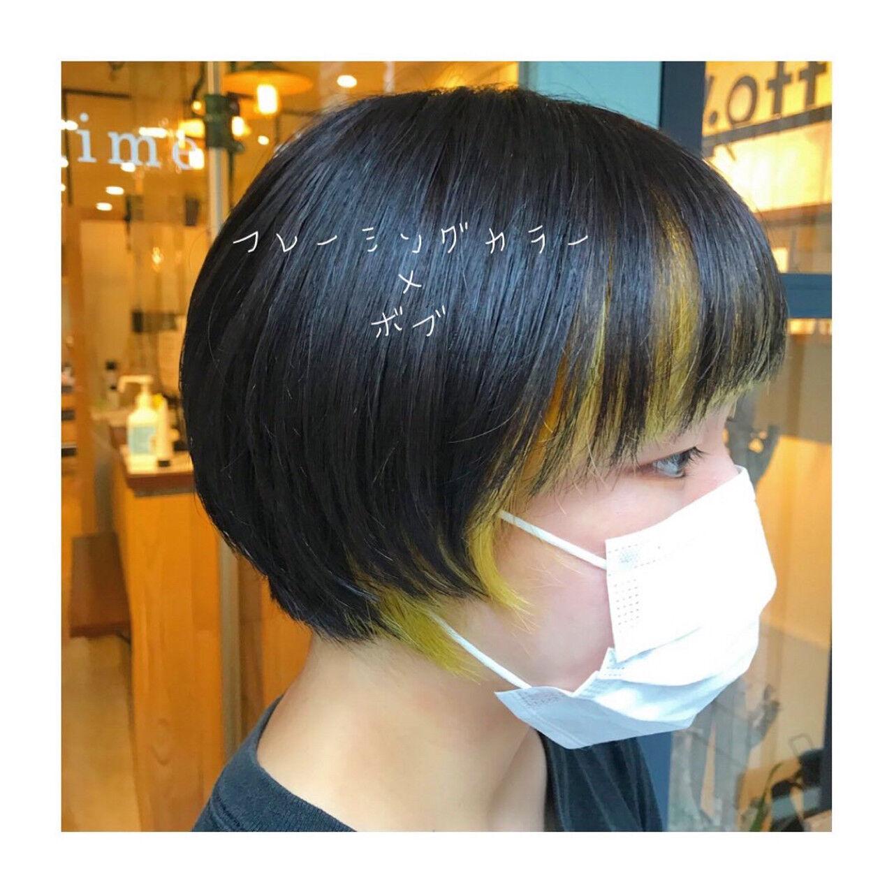 ツヤ髪 黒髪ショート モード ショートボブヘアスタイルや髪型の写真・画像