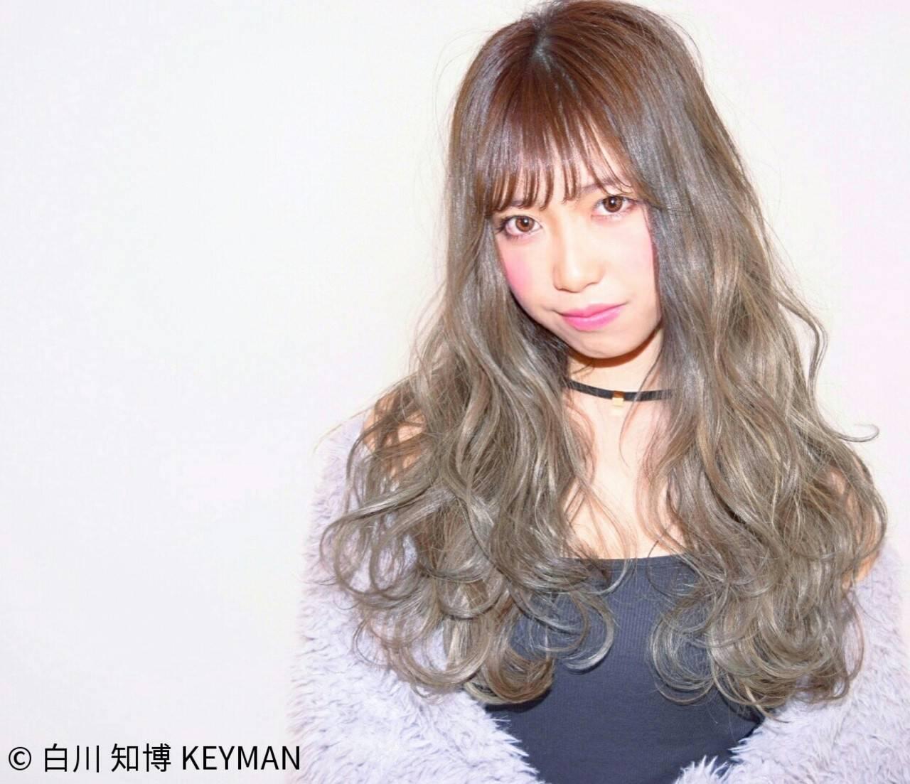 大人女子 ロング ニュアンス シースルーバングヘアスタイルや髪型の写真・画像