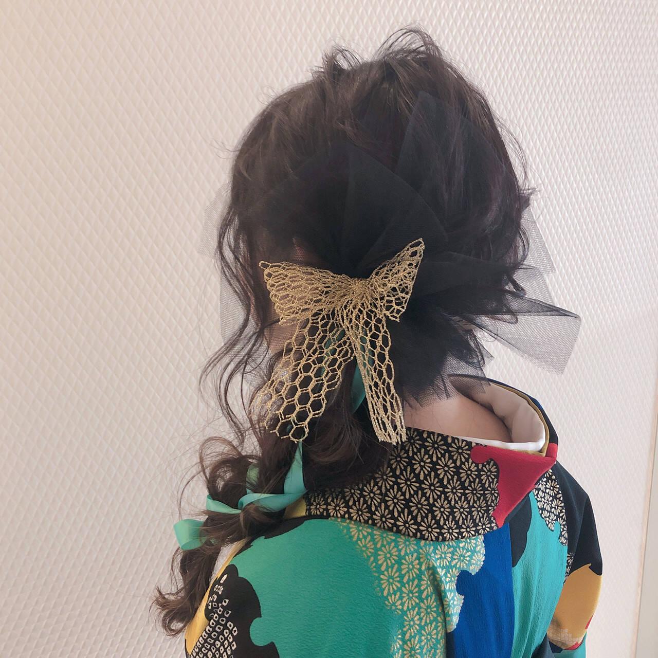 セミロング 結婚式ヘアアレンジ ヘアセット 成人式ヘアヘアスタイルや髪型の写真・画像