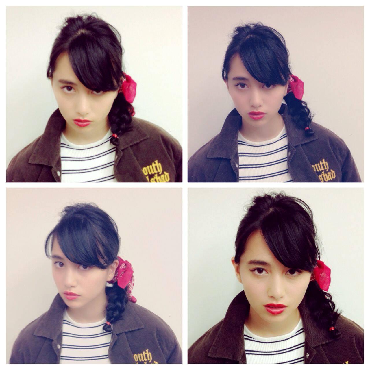 三つ編み ストリート オン眉 秋ヘアスタイルや髪型の写真・画像