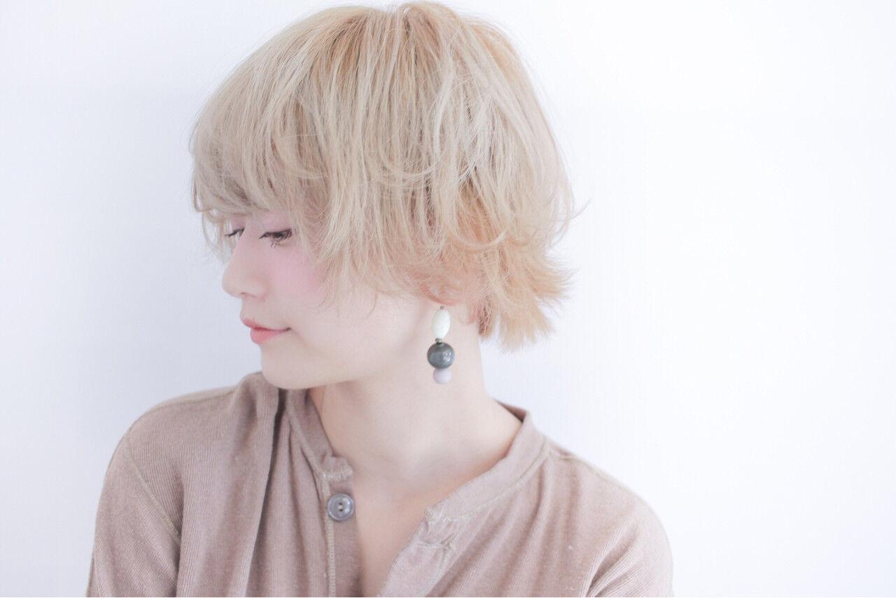 フェミニン ショート 透明感 ショートボブヘアスタイルや髪型の写真・画像