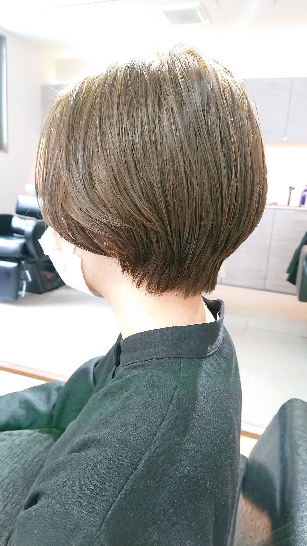 ナチュラル ショート 簡単スタイリング 美シルエットヘアスタイルや髪型の写真・画像