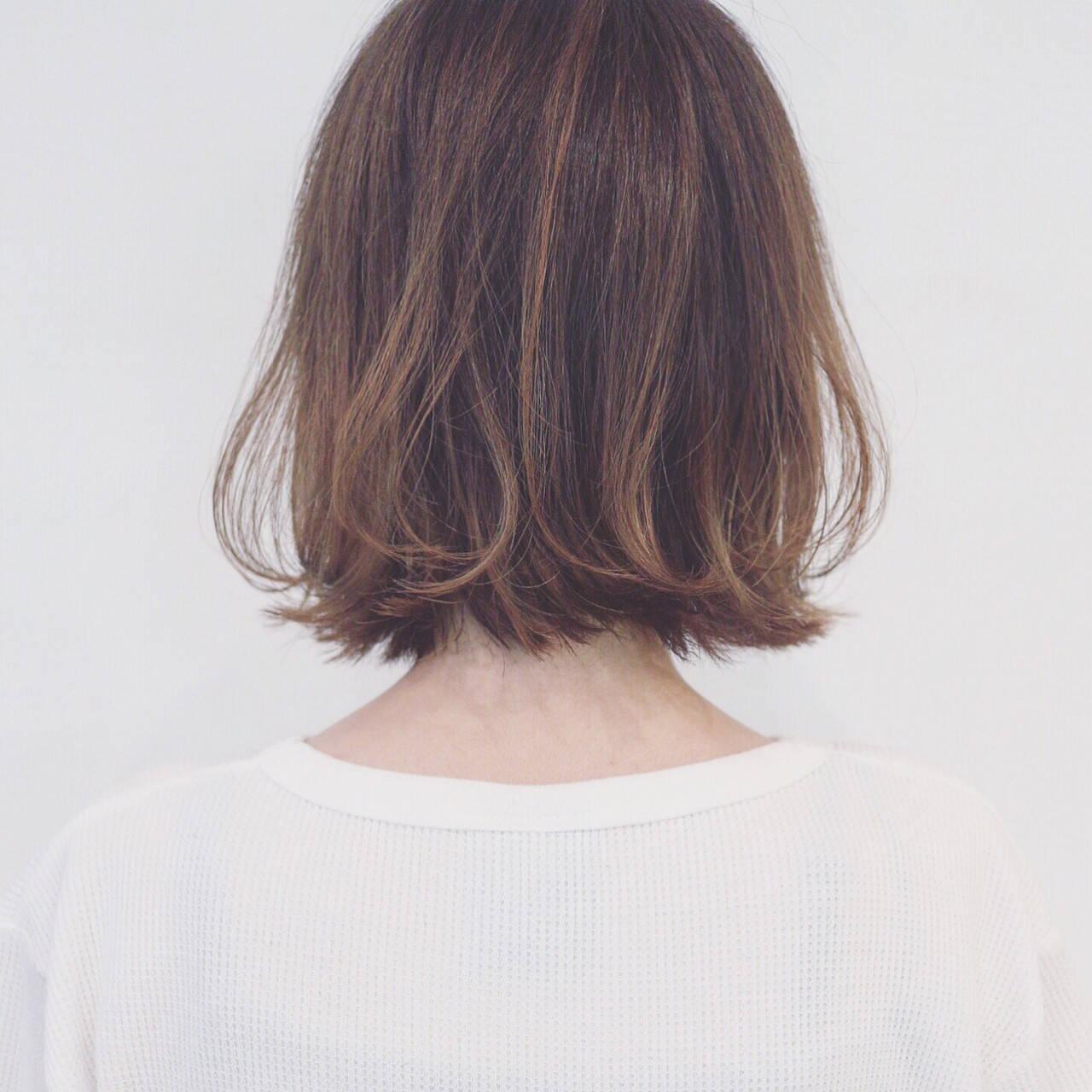 ナチュラル ボブ グラデーションカラー ハイライトヘアスタイルや髪型の写真・画像
