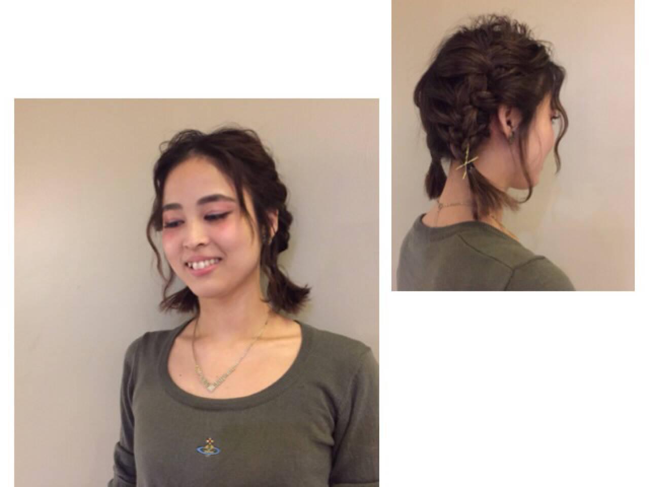 ヘアアレンジ ルーズ 簡単ヘアアレンジ ボブヘアスタイルや髪型の写真・画像