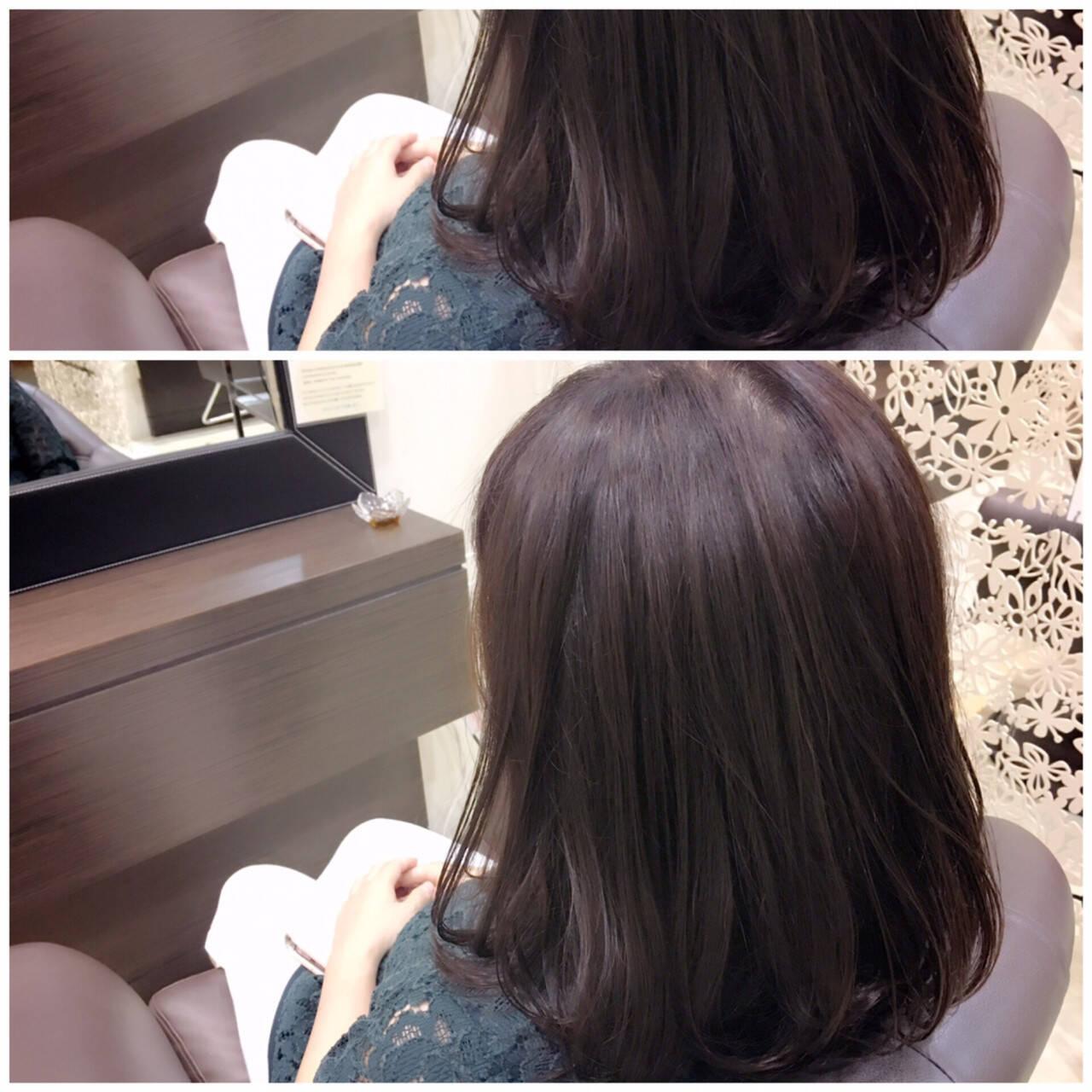 フェミニン ミディアム 大人かわいい 暗髪ヘアスタイルや髪型の写真・画像