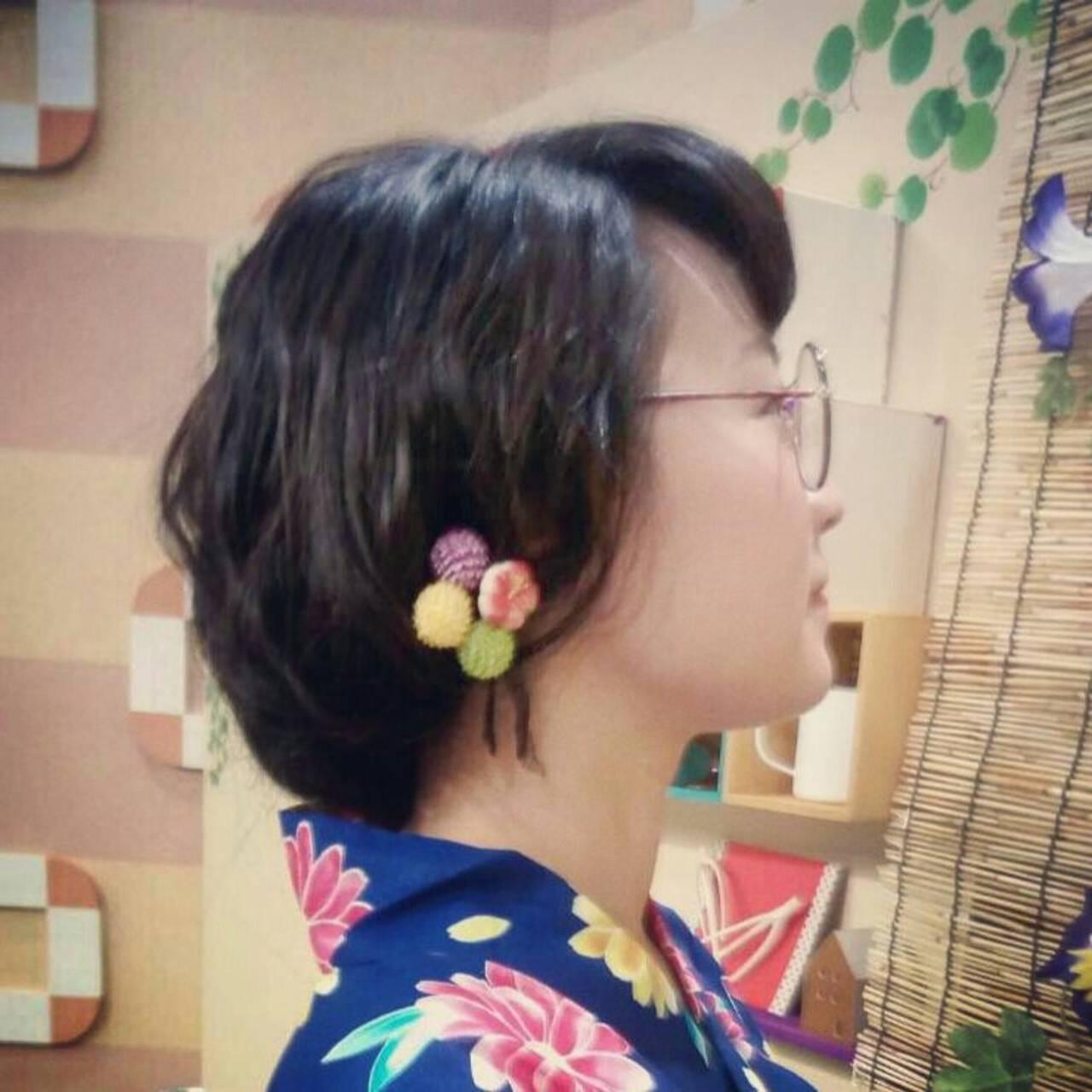 ヘアアレンジ ロング 和装 ガーリーヘアスタイルや髪型の写真・画像