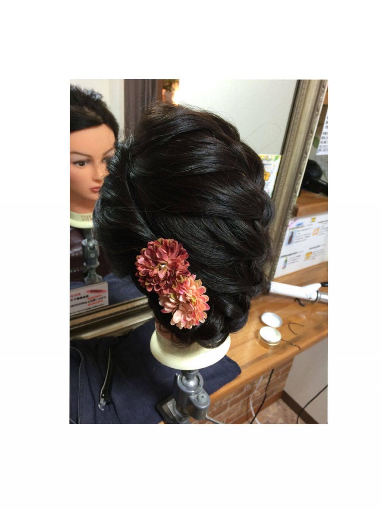ヘアアレンジ 編み込み ロング まとめ髪ヘアスタイルや髪型の写真・画像