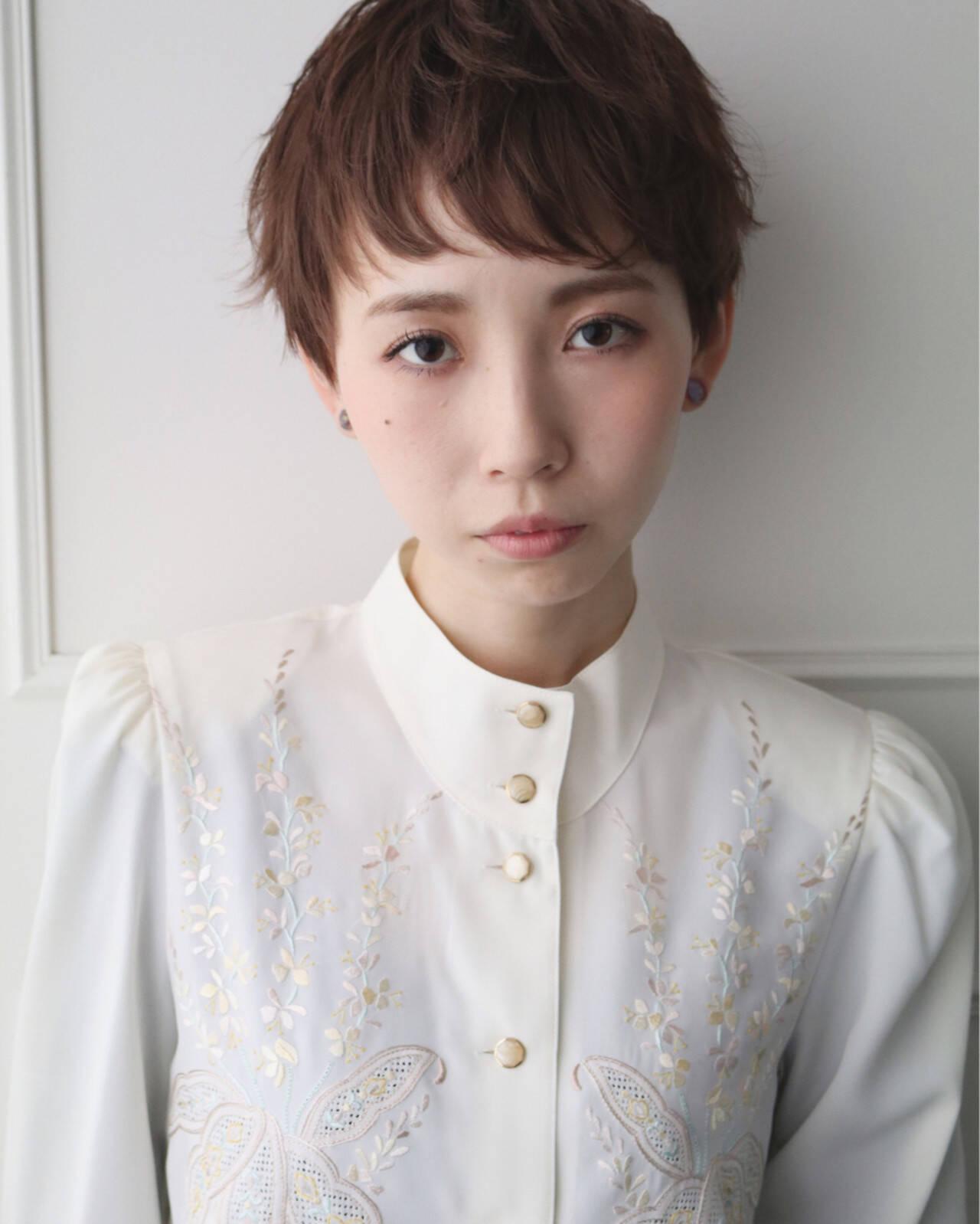 ベリーショート 似合わせ ミルクティー 小顔ヘアスタイルや髪型の写真・画像
