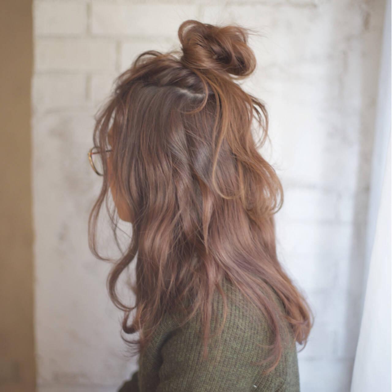 ゆるふわ 大人かわいい ロング ハーフアップヘアスタイルや髪型の写真・画像