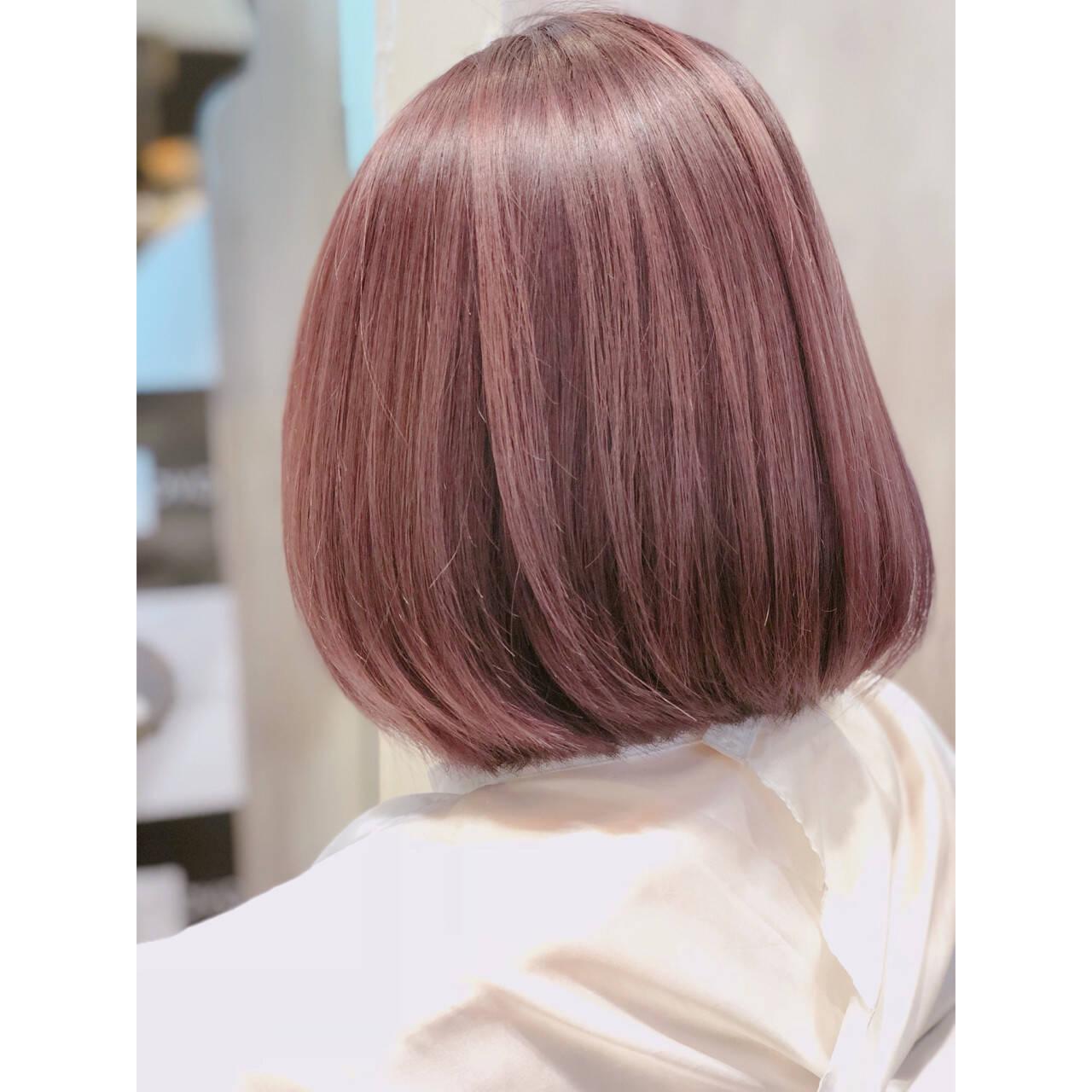 ラベンダーピンク グレージュ ボブ 大人かわいいヘアスタイルや髪型の写真・画像