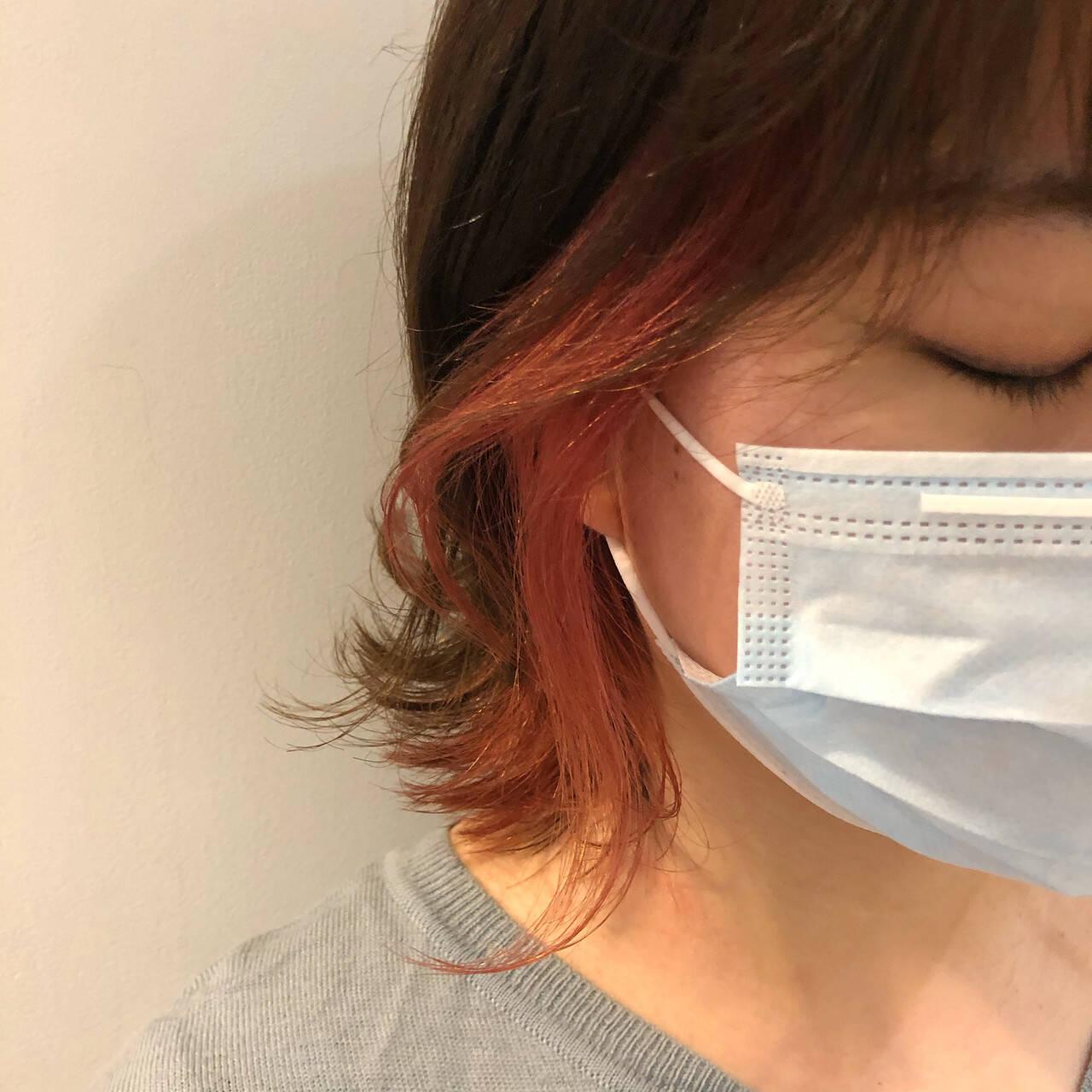 ブラットオレンジ アプリコットオレンジ インナーカラーオレンジ ガーリーヘアスタイルや髪型の写真・画像