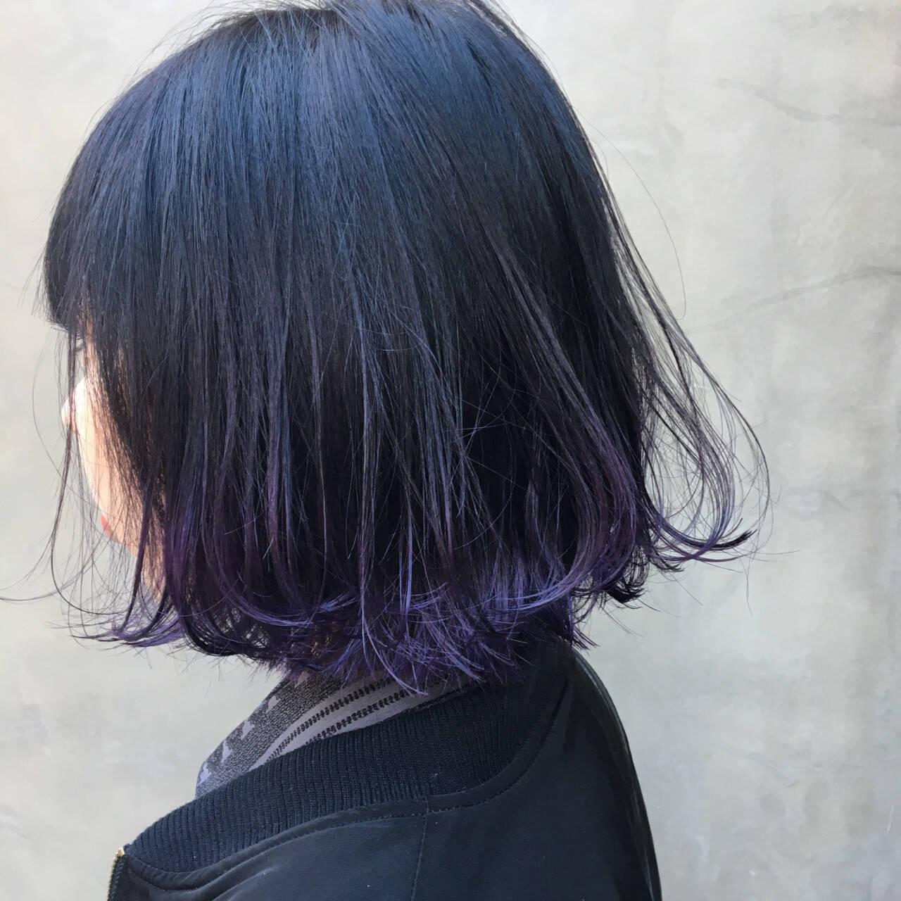 モード グラデーションカラー ボブ 暗髪ヘアスタイルや髪型の写真・画像