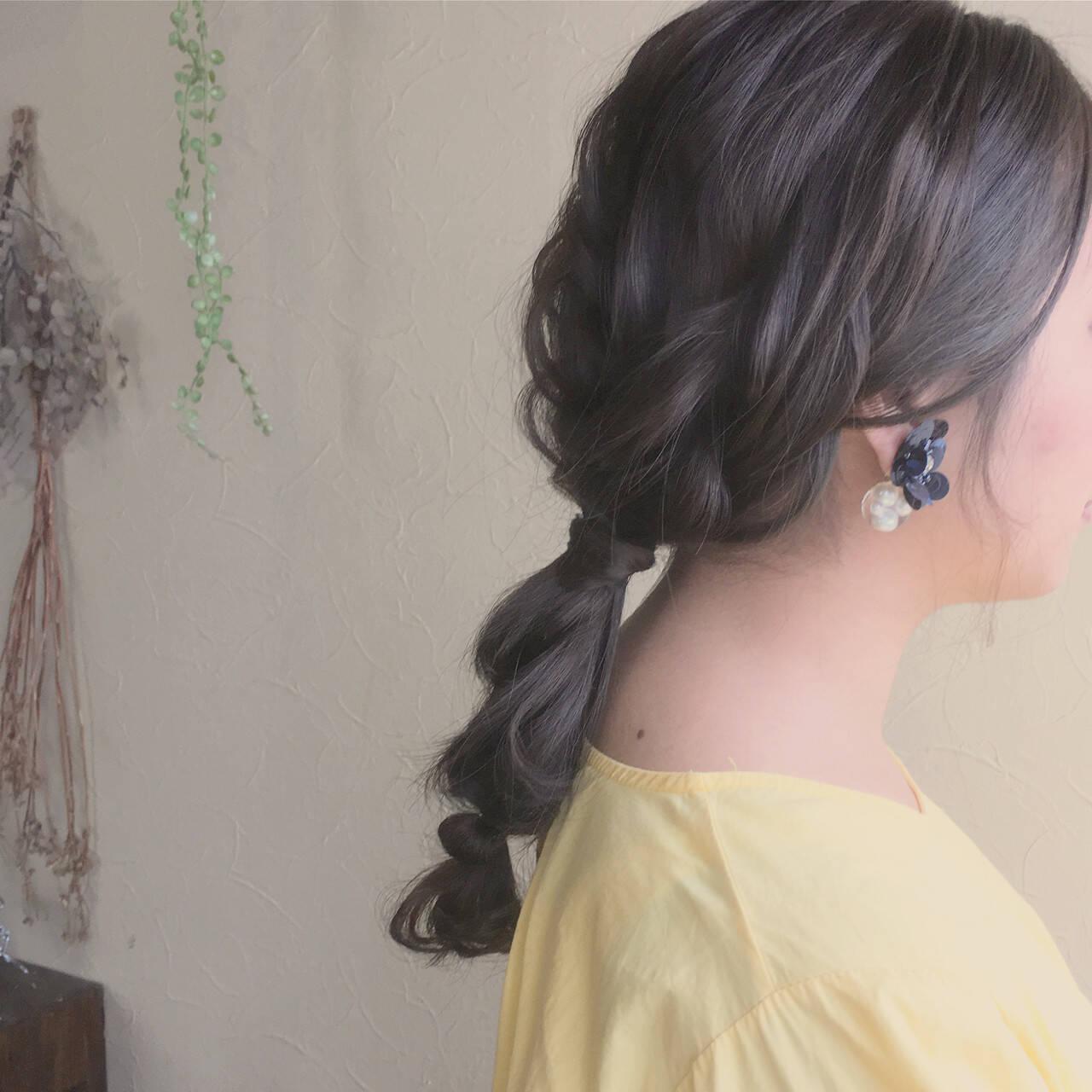 ヘアアレンジ ゆるふわ ウェーブ デートヘアスタイルや髪型の写真・画像