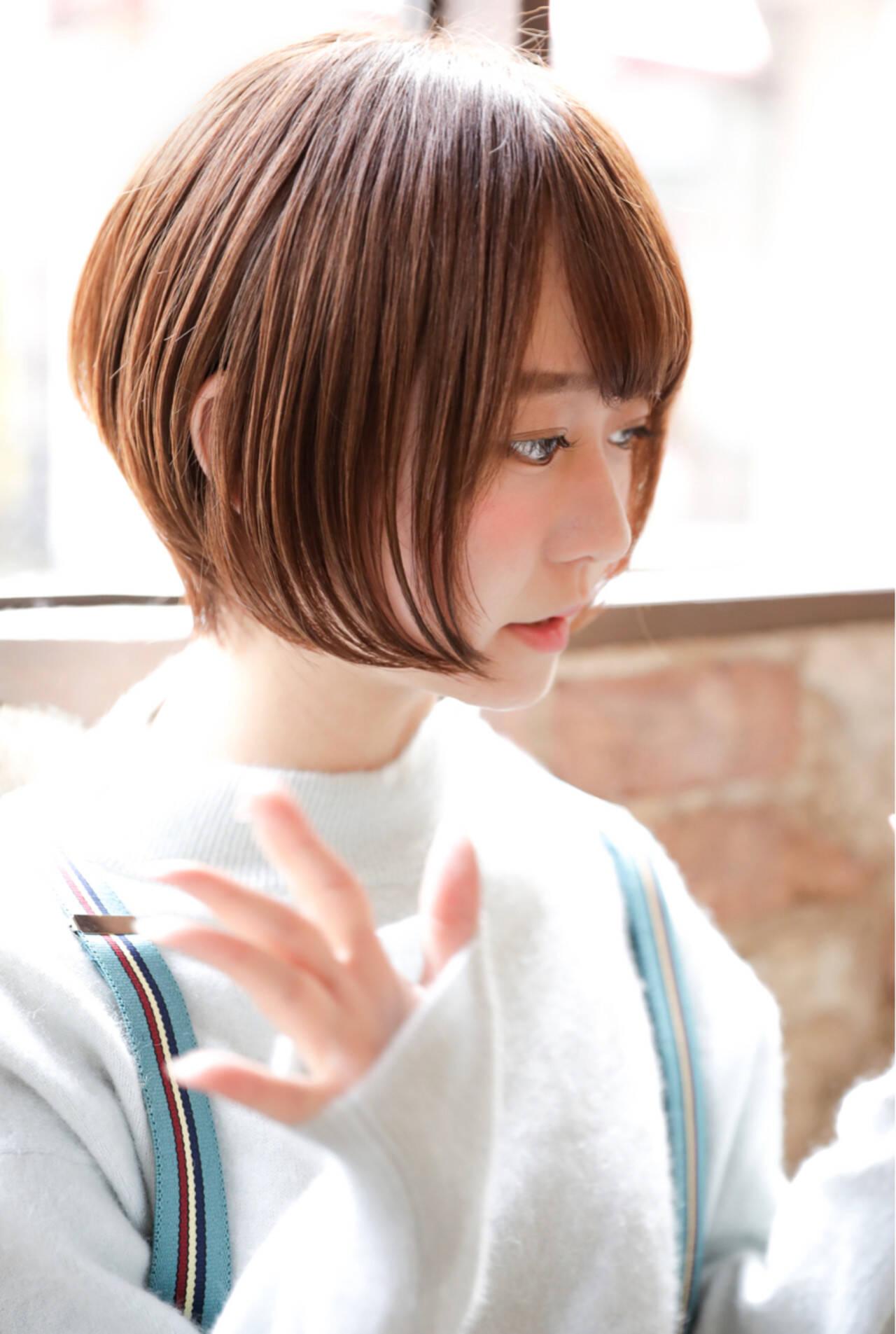 ショートボブ 大人女子 前下がり 簡単ヘアアレンジヘアスタイルや髪型の写真・画像