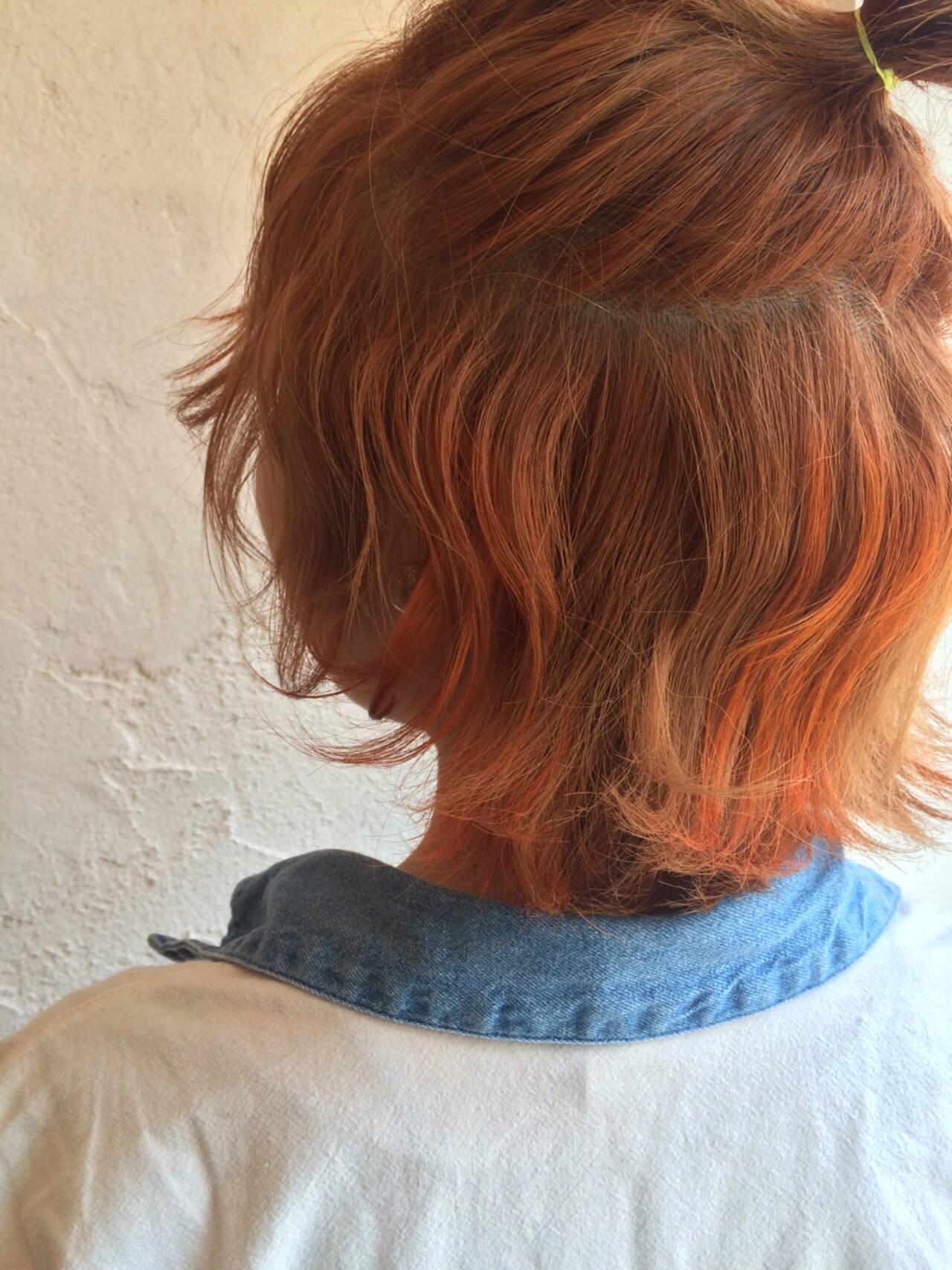 ハーフアップ オレンジ ブリーチ ハイライトヘアスタイルや髪型の写真・画像