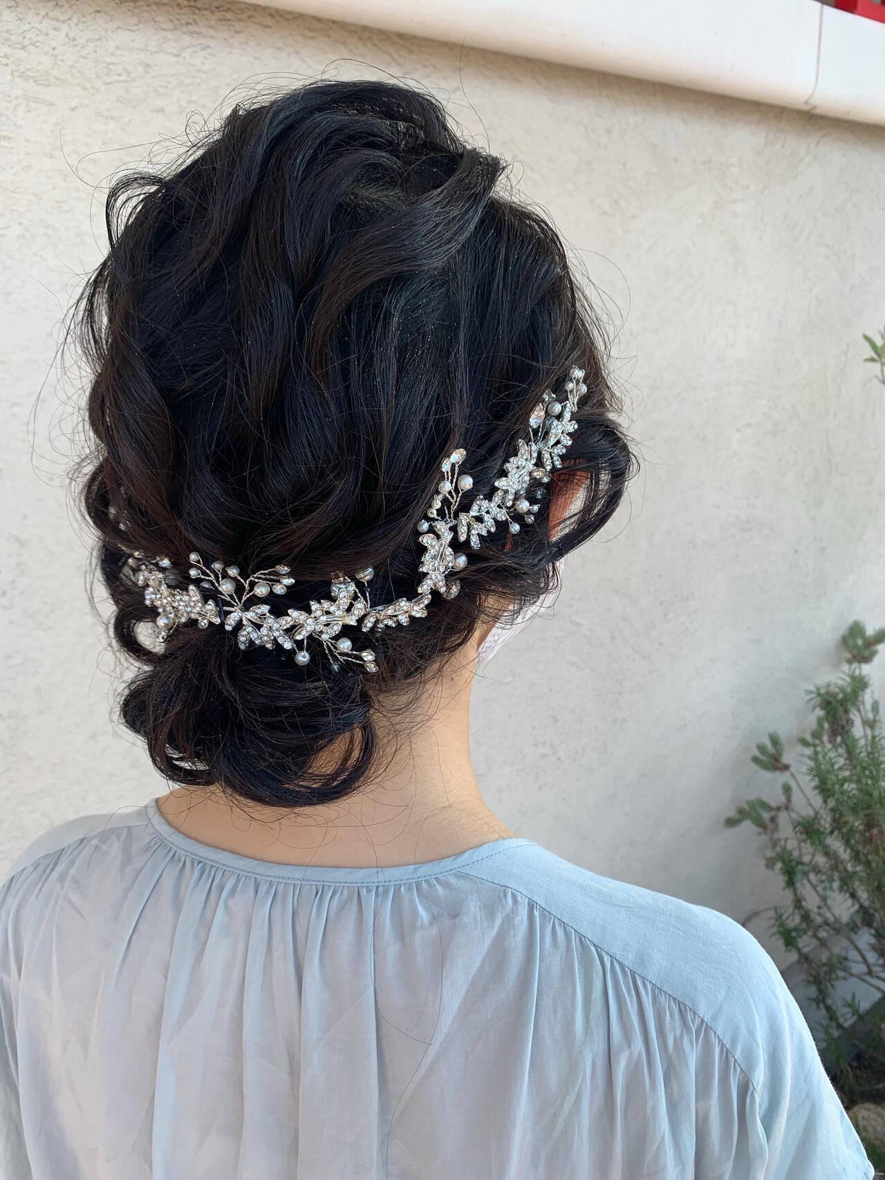 結婚式ヘアアレンジ 結婚式髪型 ミディアム 花嫁ヘアスタイルや髪型の写真・画像